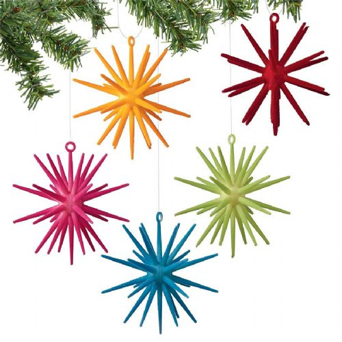 Velvet Snowflake Ornaments Set of 5